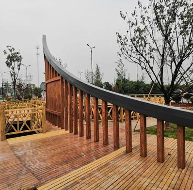 <strong>小区廊架钢结构木纹漆效果图</strong>